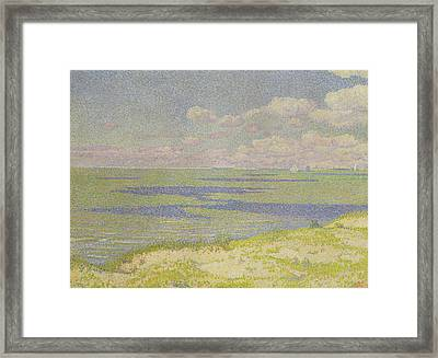 View Of The River Scheldt Framed Print by Theo van Rysselberghe