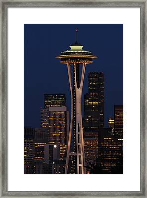 View Of The Space Needle And Seattles Framed Print