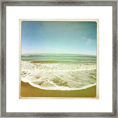 View Of Tides In Sea Framed Print by Denise Taylor
