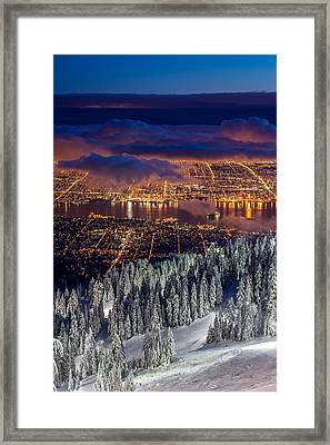 View Of Vancouver From Grouse Mountain At Sunset Framed Print