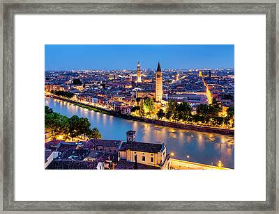 Framed Print featuring the photograph View Of Verona by Fabrizio Troiani