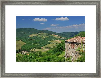 View Of Vineyards And Ancient Hillside House From Radda In Chian Framed Print by Reimar Gaertner