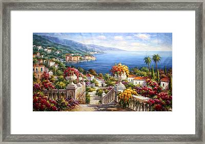 View Of Waterfront At Como Lake Framed Print