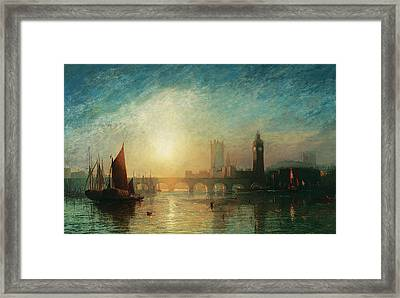 View Of Westminster Bridge And The Houses Of Parliament Framed Print by James Francis Danby