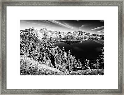 View Of Wizard Island Crater Lake B W Framed Print by Frank Wilson