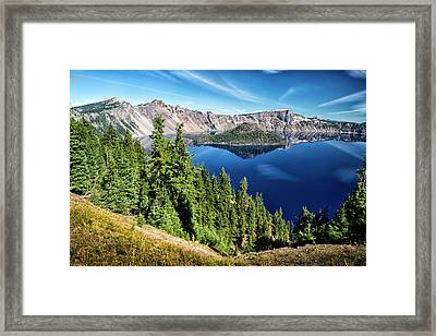View Of Wizard Island Crater Lake Framed Print by Frank Wilson