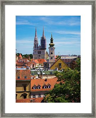 View Of Zagreb Framed Print by Rae Tucker