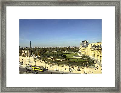View On Eiffel Tower And Louvre Framed Print by Patricia Hofmeester