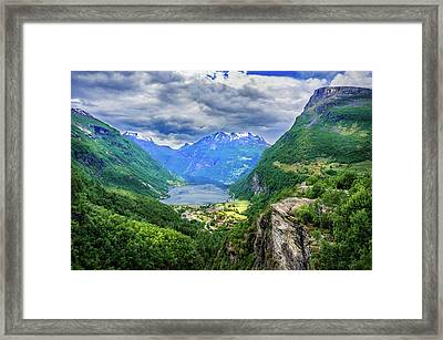 Framed Print featuring the photograph View On Geiranger From Flydalsjuvet by Dmytro Korol