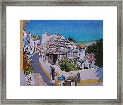 Framed Print featuring the mixed media View On Obidos by Constance Drescher