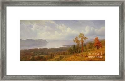 View On The Hudson Looking Across The Tappen Zee Towards Hook Mountain Framed Print by Albert Bierstadt