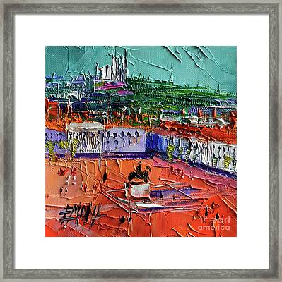 View Over Bellecour Square - Abstract Miniature Cityscape Framed Print