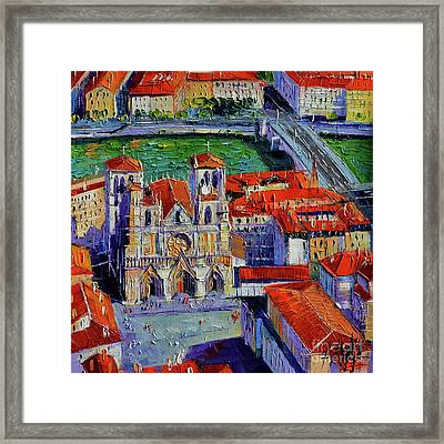 View Over Cathedral Saint Jean Lyon Framed Print by Mona Edulesco
