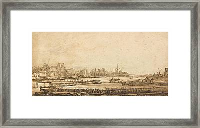 View Over The Amstel From The Rampart Framed Print by Rembrandt