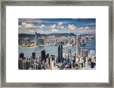 View Point Of Hongkong City And Kowloon City From The Top Of Vic Framed Print by Anek Suwannaphoom