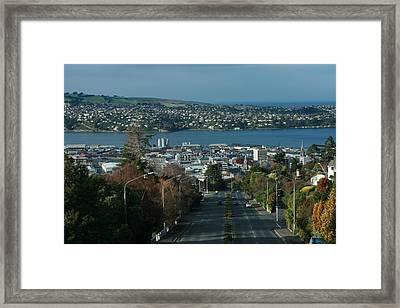 View Stuart St To Waverly Dunedin Nz Framed Print