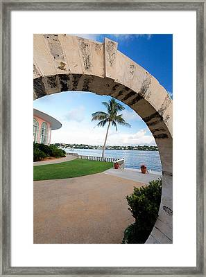 View Through A Moon Gate Framed Print by George Oze