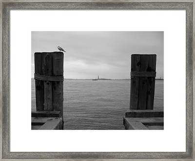 View Toward Statue Of Liberty In Nyc Framed Print