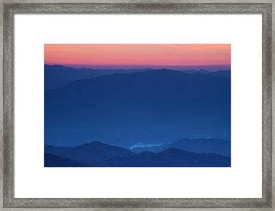 View Towards Fontana Lake At Sunset Framed Print by Andrew Soundarajan