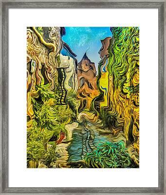 Vieux Village De Grimaud Framed Print by Dan Mintici