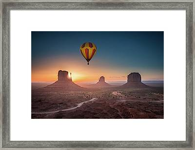 Viewing Sunrise At Monument Valley Framed Print