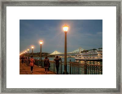Viewing The Bay Bridge Lights Framed Print