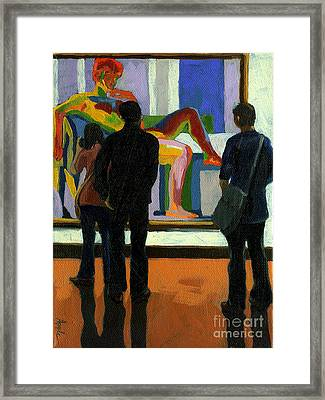 Viewing The Nude Oil Painting Framed Print by Linda Apple