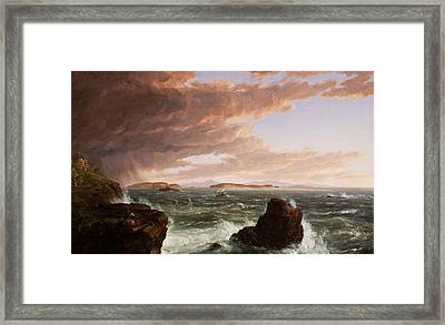 Views Across Frenchman's Bay From Mt Desert Island After A Squall Framed Print by Thomas Cole