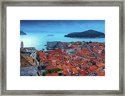 Views Of Dubrovnik, The Port And The Adriatic Sea Framed Print