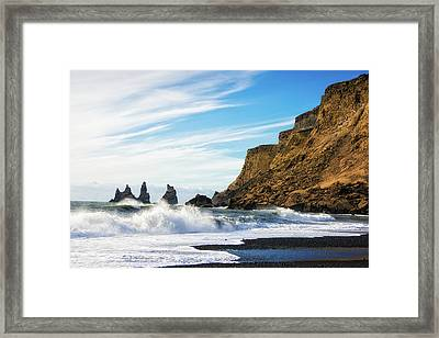 Framed Print featuring the photograph Vik Reynisdrangar Beach And Ocean Iceland by Matthias Hauser