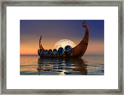 Viking Boat Framed Print by Corey Ford