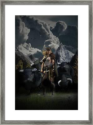 Viking Gefjon Framed Print by Andy Renard