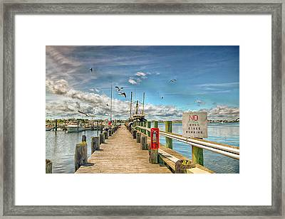 Viking Village Marina In Bargenat Light  New Jersey Framed Print by Geraldine Scull