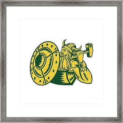 Viking Warrior Hammer Shield Woodcut Framed Print by Aloysius Patrimonio