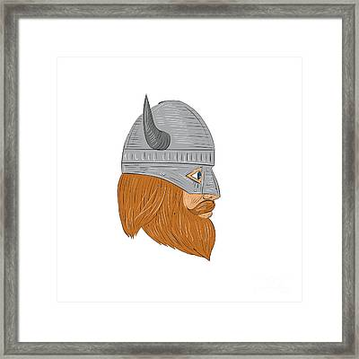 Viking Warrior Head Right Side View Drawing Framed Print