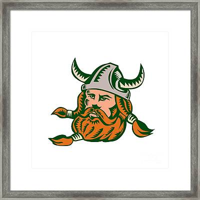 Viking Warrior Head Woodcut Framed Print