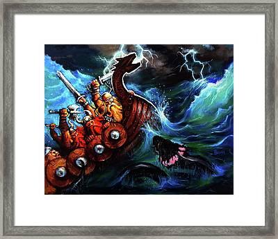 Vikings At Sea Framed Print by Chris Bahn