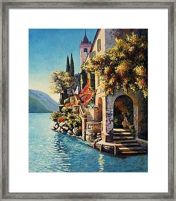 Villa Balbianello Lake Como Framed Print by Santo De Vita