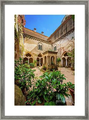 Villa Cimbrone Courtyard Framed Print by Inge Johnsson