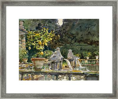 Villa Di Marlia Lucca A Fountain Framed Print by John Singer Sargent