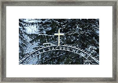 Framed Print featuring the photograph Villa Sacred Heart Winter Retreat Golden Cross by John Stephens