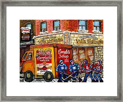 Villa Wellington Verdun Montreal Winter Scene Hockey Art  Campbell Soup Truck Canadian Artist Framed Print