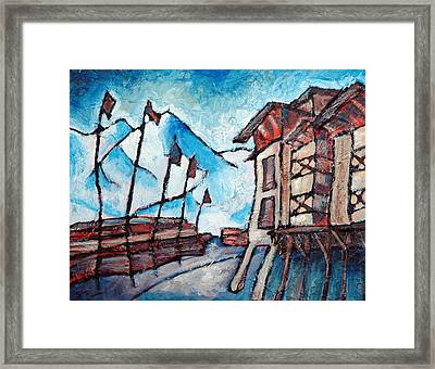 Village At Squaw Valley Framed Print by Sara Zimmerman