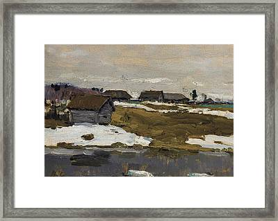 Village By The Water In Winter Framed Print