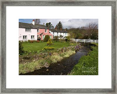Village Cottages English Peak District Village With Colorful Houses Garden Stream And Bridge Framed Print by Andy Smy
