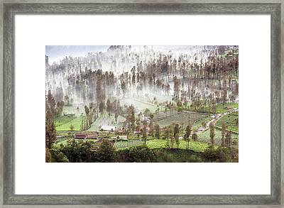 Framed Print featuring the photograph Village Covered With Mist by Pradeep Raja Prints