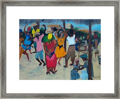 Framed Print featuring the painting Village Dance Under The Pergola by Nicole Jean-louis