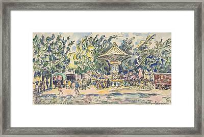 Village Festival Framed Print by Paul Signac