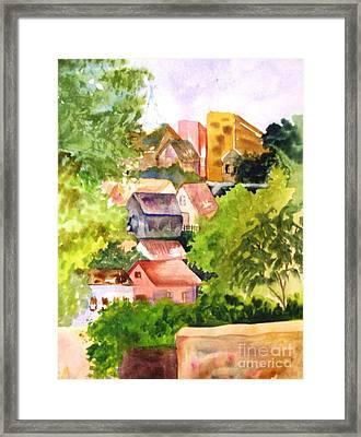 Village Hillside Framed Print by Sandi Stonebraker