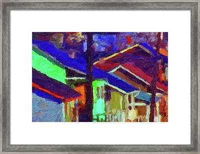 Framed Print featuring the digital art Village Houses by Richard Farrington